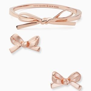 Kate Spade Rose Gold skinny bow earrings & bangle